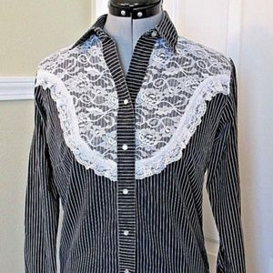 Rockmount Ranch Wear Shirt Western Vintage Lace